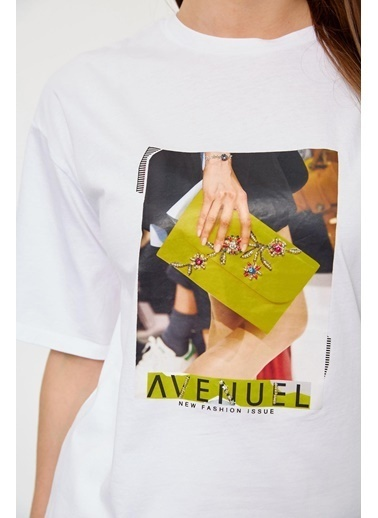 Setre Lila Kısa Kol Baskılı T-Shirt Ekru